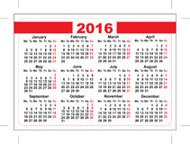 2016 pocket calendar. Template grid. Horizontal orientation days of week Royalty Free Stock Photos