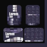 Pocket calendar 2016. Template calendar grid. Vertical horizontal orientation of days of week. Illustration in format - gray purple Stock Illustration