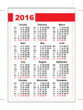 2016 pocket calendar. Template grid. Vertical orientation of days of week Stock Photos