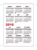 Pocket calendar 2016 template Royalty Free Stock Photo