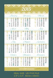 Pocket calendar 2015, with USA holidays. VECTOR SIZE: 2.4 x 3.5, 60mm x 90mm Vector Illustration