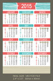 Pocket Calendar 2015, vector, start on Sunday Royalty Free Stock Photos