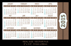 Pocket Calendar 2015, vector, start on Sunday. Vector stock illustration