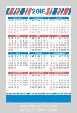 Pocket Calendar 2018, vector, start on Sunday. Blue and red colorsnSIZE: 2.4` x 3.5`, 60mm x 90mm Royalty Free Stock Image