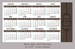 Pocket Calendar 2018, vector, start on Sunday. Brown wooden texture.nSIZE: 51mm x 89mm Royalty Free Stock Photography