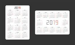 Pocket calendar 2019 stock illustration