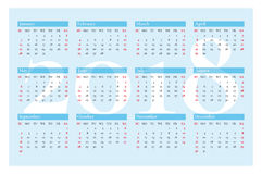 Pocket calendar for 2018 year. Vector on blue background. Royalty Free Stock Images