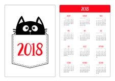 Pocket calendar 2018 year. Week starts Sunday. Black cat vector illustration