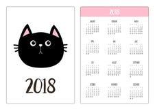 Pocket calendar 2018 year. Week starts Sunday. Black cat head face. Pink nose. Cute cartoon funny character. Kawaii animal. Love p. Et. Flat design style. White Stock Photo