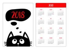 Pocket calendar 2018 year. Week starts Sunday. Black cat looking up to think talk speech bubble. Cute cartoon character. Kawaii an Royalty Free Stock Image