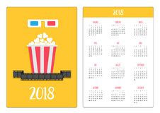 Pocket calendar 2018 year. Week starts Sunday. 3D paper red. Blue glasses and big popcorn box. Film strip. Cinema movie icon set in flat design style. Yellow Stock Image