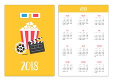 Pocket calendar 2018 year. Week starts Sunday. 3D paper red blue glasses. Open clapper board Movie reel Popcorn Cinema Movie icon. Set. Flat design style Royalty Free Stock Photos