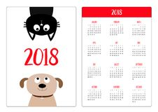 Pocket calendar 2018 year. Week starts Sunday. Dog Cat upside down. Pet adoption. Adopt me. Dont buy. Puppy pooch kitty cat lookin. G up. Flat design. Help Royalty Free Stock Images