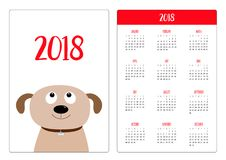 Pocket calendar 2018 year. Week starts Sunday. Dog face.. Pet adoption. Puppy pooch looking up. Adopt me. Dont buy. Flat design. Help homeless animal. Cute Stock Photos