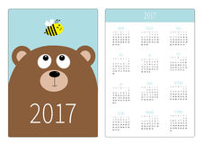 Pocket calendar 2017 year. Week starts Sunday. Flat design Vertical orientation Template. Bear grizzly big head looking at honey b. Ee insect. Cute cartoon Royalty Free Stock Photo