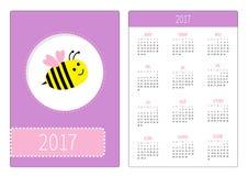 Pocket calendar 2017 year. Week starts Sunday. Flat design Vertical orientation Template. Bee Meadow bumblebee . Cute cartoon char. Acter. Purple background Stock Images
