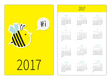 Pocket calendar 2017 year. Week starts Sunday. Flat design Vertical orientation Template. Bee and speech bubble with text Hi. Cute. Cartoon character. Yellow Stock Photography