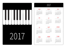 Pocket calendar 2017 year. Week starts Sunday. Flat design Vertical orientation Template. Big piano Keys Music Card. Vector illustration Royalty Free Stock Image