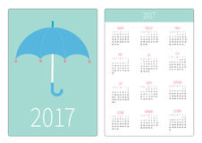 Pocket calendar 2017 year. Week starts Sunday. Flat design Vertical orientation Template. Blue umbrella with pink hearts. Love car. D. Vector illustration Royalty Free Stock Image