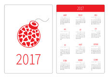 Pocket calendar 2017 year. Week starts Sunday. Flat design Vertical orientation Template. Bomb with hearts inside. Love card. Vector illustration Royalty Free Stock Photography