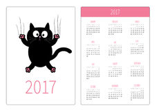 Pocket calendar 2017 year. Week starts Sunday. Flat design Vertical orientation Template. Cartoon black cat claw scratch glass. Cute character. White Royalty Free Illustration