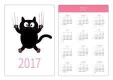 Pocket calendar 2017 year. Week starts Sunday. Flat design Vertical orientation Template. Cartoon black cat claw scratch glass. Cute character. White Royalty Free Stock Photo
