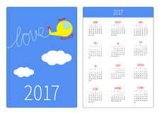 Pocket calendar 2017 year. Week starts Sunday. Flat design Vertical orientation Template. Cartoon helicopter. Dash word LOVE in the sky. Vector illustration Royalty Free Stock Photography