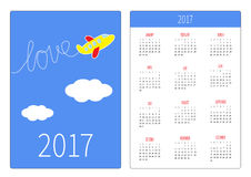 Pocket calendar 2017 year. Week starts Sunday. Flat design Vertical orientation Template. Cartoon plane. Dash word Love in the sky. Vector illustration Stock Photos