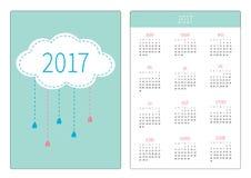 Pocket calendar 2017 year. Week starts Sunday. Flat design Vertical orientation Template. Cloud with hanging rain drops. Love card. Vector illustration vector illustration