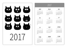 Pocket calendar 2017 year. Week starts Sunday.  Royalty Free Stock Photography