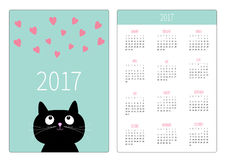 Pocket calendar 2017 year. Week starts Sunday. Flat design Vertical orientation Stock Photography