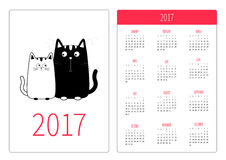 Pocket calendar 2017 year. Week starts Sunday. Flat design Vertical orientation Template. Cute cartoon black white cat boy and gir Stock Image