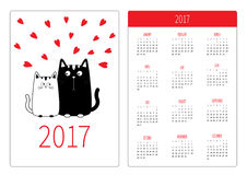 Pocket calendar 2017 year. Week starts Sunday. Flat design Vertical orientation Template. Royalty Free Stock Photo