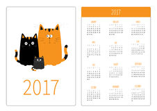 Pocket calendar 2017 year. Week starts Sunday. Flat design Vertical orientation Template. Cute cartoon cat family. Mother, father. And baby boy kitten. Funny Stock Image