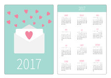 Pocket calendar 2017 year. Week starts Sunday. Flat design Vertical orientation Template. Envelope with hearts. Love card. Vector illustration Stock Image