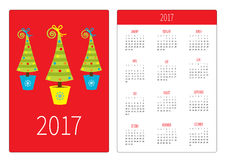 Pocket calendar 2017 year. Week starts Sunday. Flat design Vertical orientation Template. Firtree Christmas tree set in pot. Vector illustration Stock Image