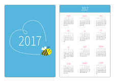 Pocket calendar 2017 year. Week starts Sunday. Flat design Vertical orientation Template. Stock Photos