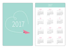 Pocket calendar 2017 year. Week starts Sunday. Flat design Vertical orientation Template. Flying paper plane. Big dash heart in th Stock Photography