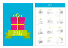 Pocket calendar 2017 year. Week starts Sunday. Flat design Vertical orientation Template. Gift box with ribbon and bow. Present. B Stock Image