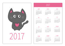 Pocket calendar 2017 year. Week starts Sunday. Flat design Vertical orientation Template. Gray contour cat holding pink heart. Cut Royalty Free Stock Images