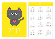 Pocket calendar 2017 year. Week starts Sunday. Stock Photography