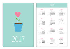 Pocket calendar 2017 year. Week starts Sunday. Flat design Vertical orientation Template. Heart flower in pot. Love card. Royalty Free Stock Image