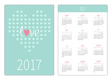 Pocket calendar 2017 year. Week starts Sunday. Flat design Vertical orientation Template. Heart from small hearts. Love card. Stock Photos