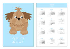 Pocket calendar 2017 year. Week starts Sunday. Flat design Vertical orientation Template. Little glamour tan Shih Tzu dog. Isolate. Pocket calendar 2017 year Stock Photo