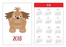 Pocket calendar 2018 year. Week starts Sunday. Flat design Vertical orientation Template. Little glamour tan Shih Tzu dog. Isolate Royalty Free Stock Photo