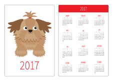 Pocket calendar 2017 year. Week starts Sunday. Flat design Vertical orientation Template. Little glamour tan Shih Tzu dog. Isolate. D. White background. Vector Stock Images