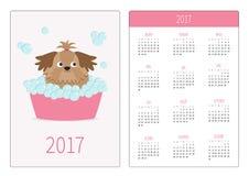 Pocket calendar 2017 year. Week starts Sunday. Flat design Vertical orientation Template. Little glamour tan Shih Tzu dog taking a Stock Photo