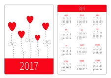 Pocket calendar 2017 year. Week starts Sunday. Flat design Vertical orientation Template. Love card. White and pink Heart flowers. Royalty Free Stock Image