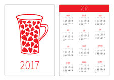 Pocket calendar 2017 year. Week starts Sunday. Flat design Vertical orientation Template. Red heart teacup. Love card. Stock Photos