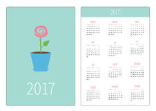 Pocket calendar 2017 year. Week starts Sunday. Flat design Vertical orientation Template. Rose in pot. Love card. Vector illustration Stock Photo